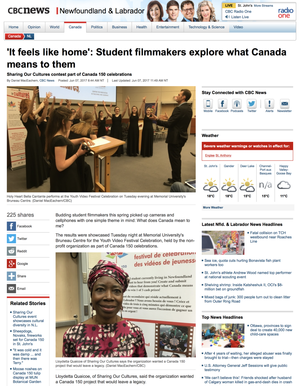 Read the article here...http://www.cbc.ca/news/canada/newfoundland-labrador/youth-video-festival-celebration-canada-150-1.4148918