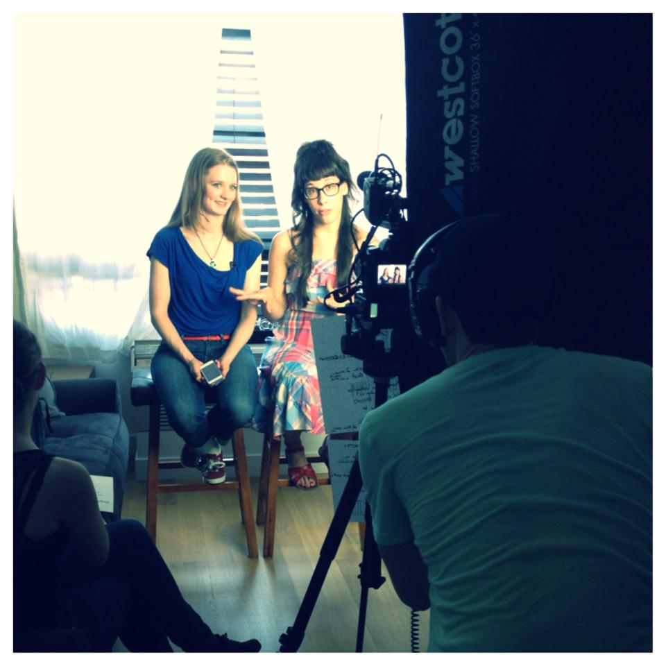 Shooting the BE Bettina and Elaine  Indiegogo Campaign Video. 2014