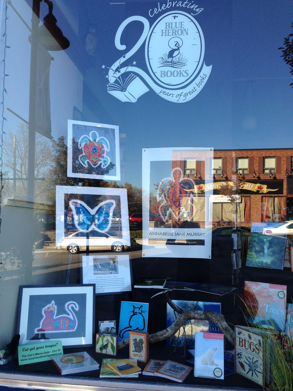Window display of my work at Blue Heron Books, Uxbridge, ON