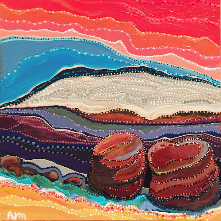 "Rocks on the Bay - 12""x12"" Acrylic on Canvas"