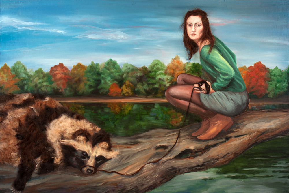 "Post Hunt   (2012)  oil, acrylic, and animal fiber on panel  29"" X 48"""