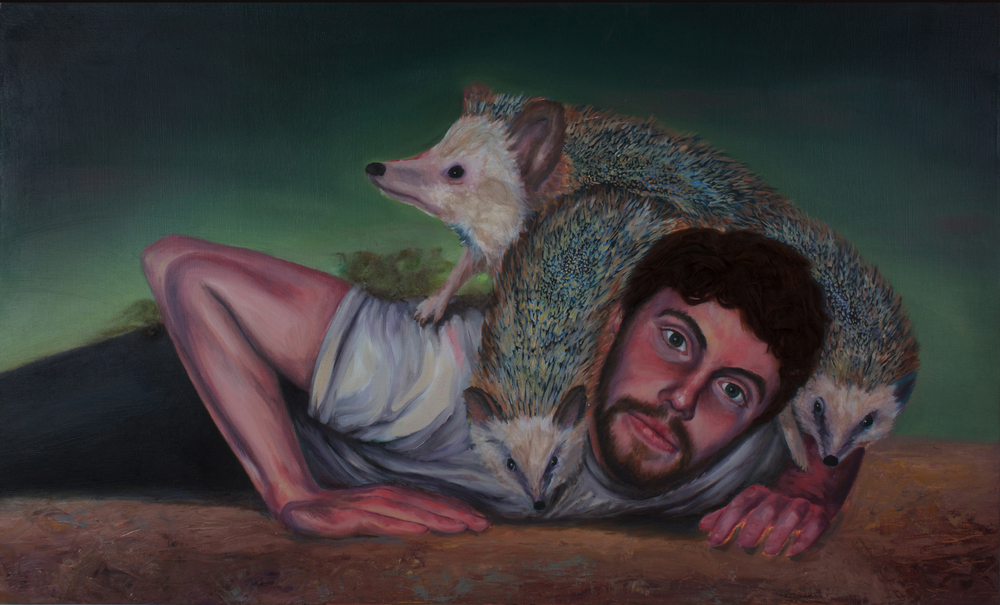 "Nesting   (2012)  oil, acrylic, and animal fiber on panel  29"" X 48"""