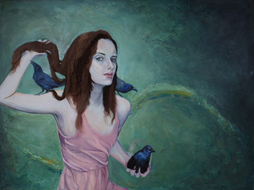 "Between Swarms   (2011)  oil, acrylic, and animal fiber on panel  48"" X 72"""