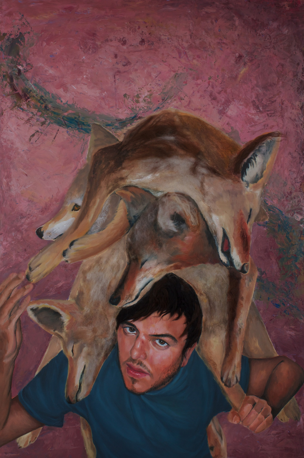 "Burden   (2011)  oil, acrylic, and animal fiber on panel  48"" X 32"""