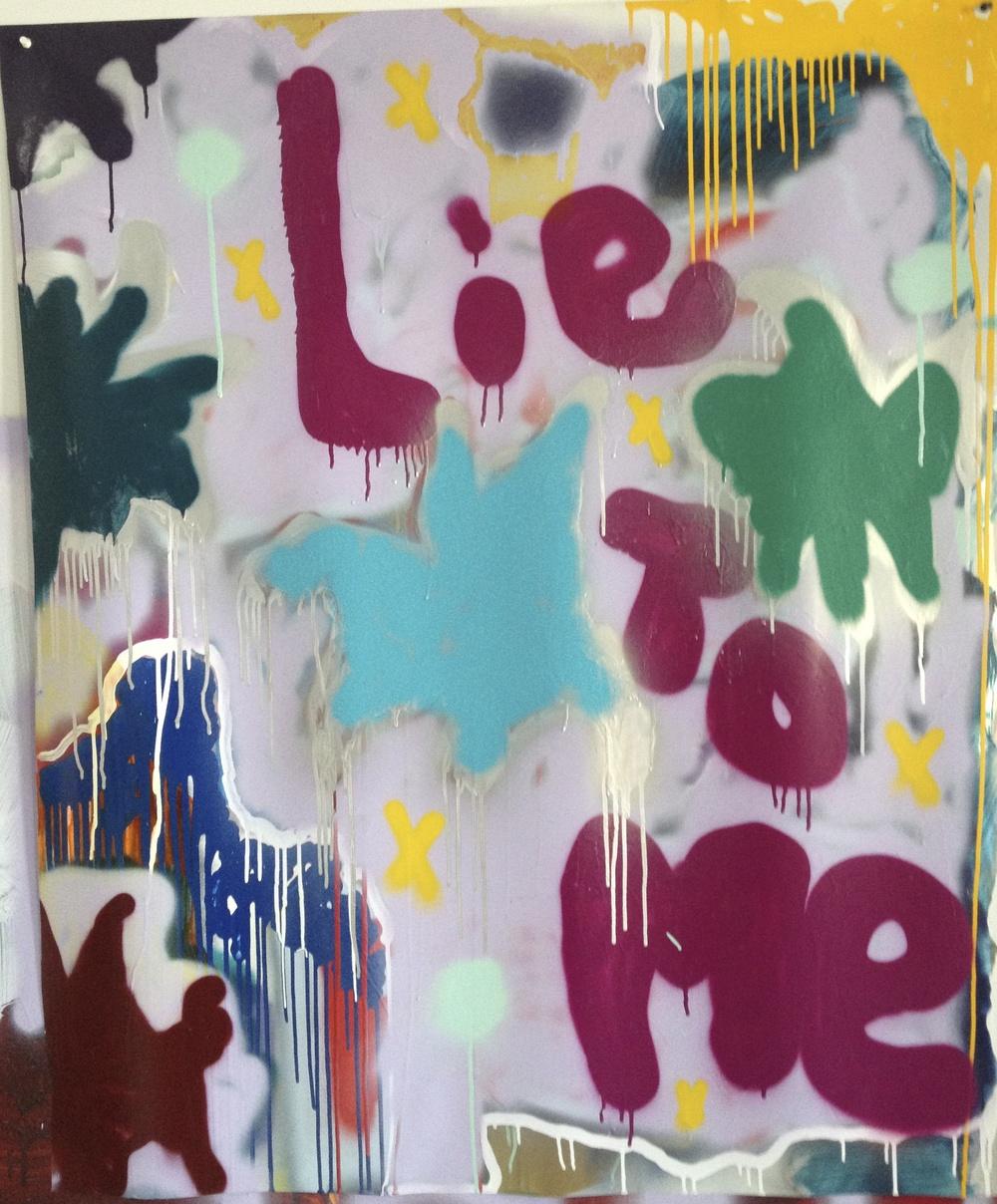 """Lie To Me, 48"""" x 35"""", Acrylic on Mylar"""