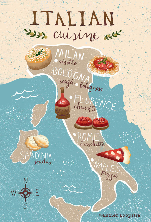Food map of italy esther loopstra for About italian cuisine