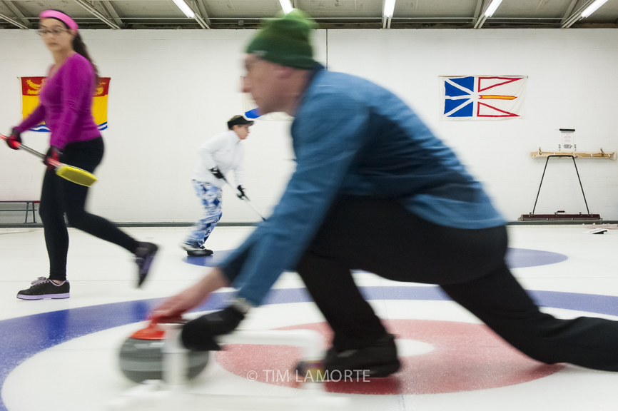 DOBBS FERRY, NY —Members Jennifer Marco, Nancy Clancy and Jon Schuster compete at the Ardsley Curling Club on Oct. 13.