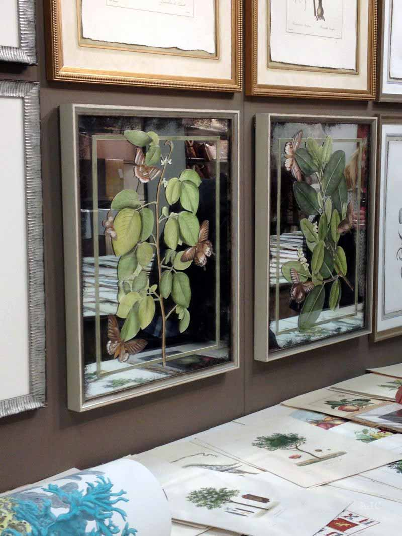 These botanicals were painted on mirror!  Woah!