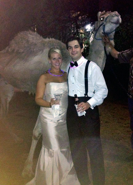meeting Al the Camel at a very special summer wedding