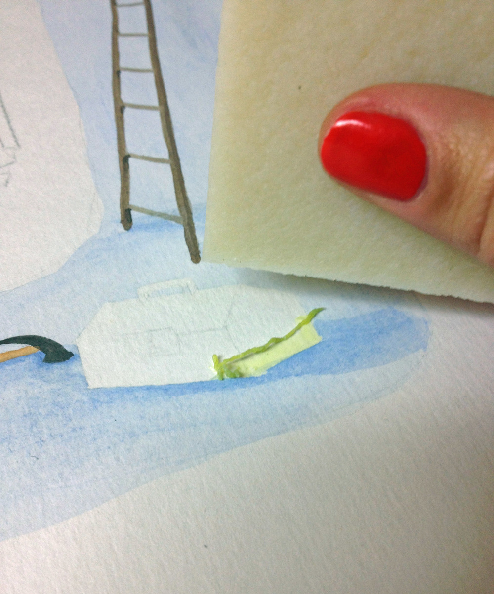 While painting the watercolors, I used frisket (masking fluid) again… but this time I was smart! I got a rubber cement remover tool to preserve my fingertips… you'll never torture me again, frisket!