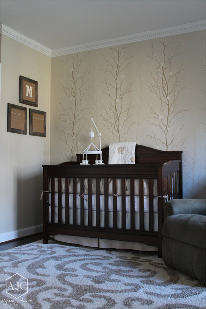 Neutral Blossoms Nursery Mural
