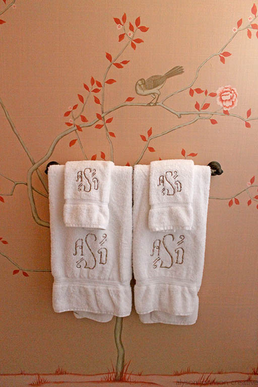 Chinoiserie Bath Mural, towel tree