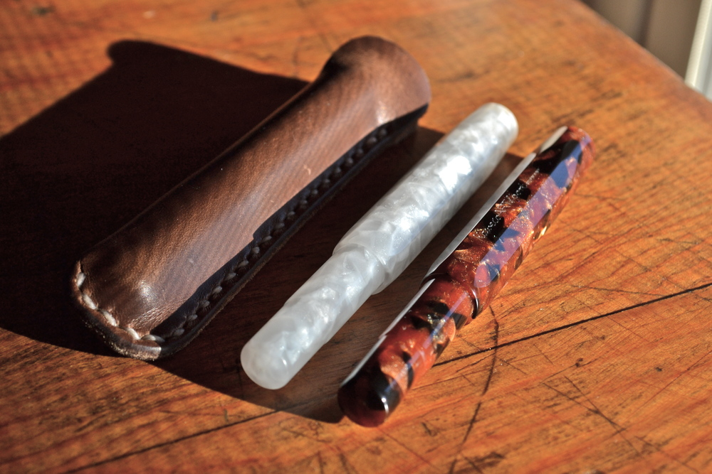 Shown here with small pen sleeve from One Star Leather Goods