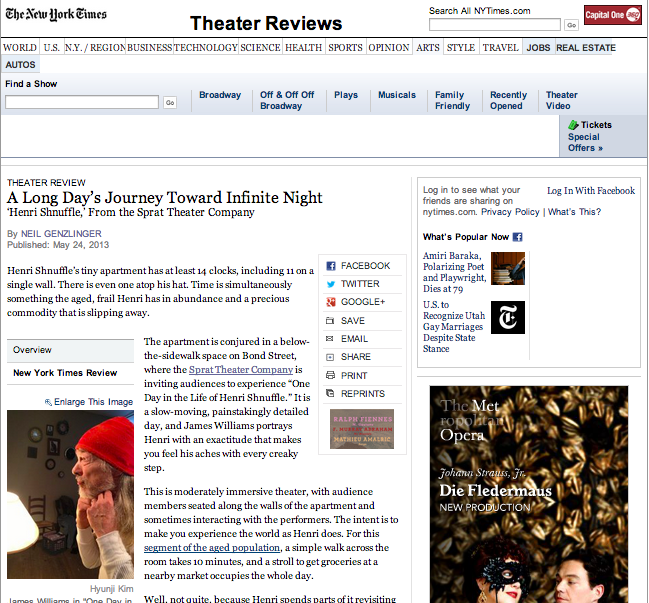 'One Day In the Life of Henri Shnuffle' Theater Review in the NY Times.
