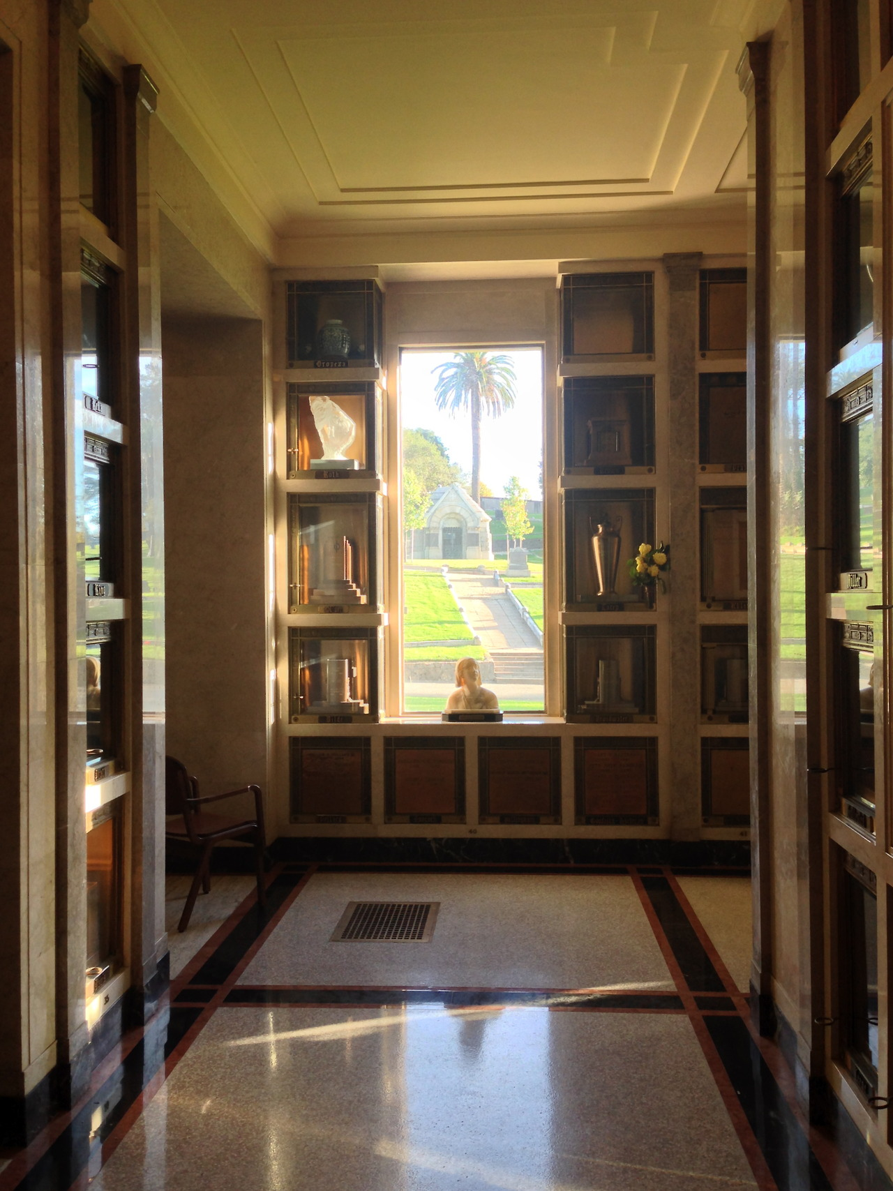 The mausoleum at Mountain View Cemetery in Oakland looks like a library, and is quieter, too.  I wish I could have taken more pictures in here, but my camera died (as fitting a place as any, I guess) just after I took this.  Some of the ashes are even inside iron books.