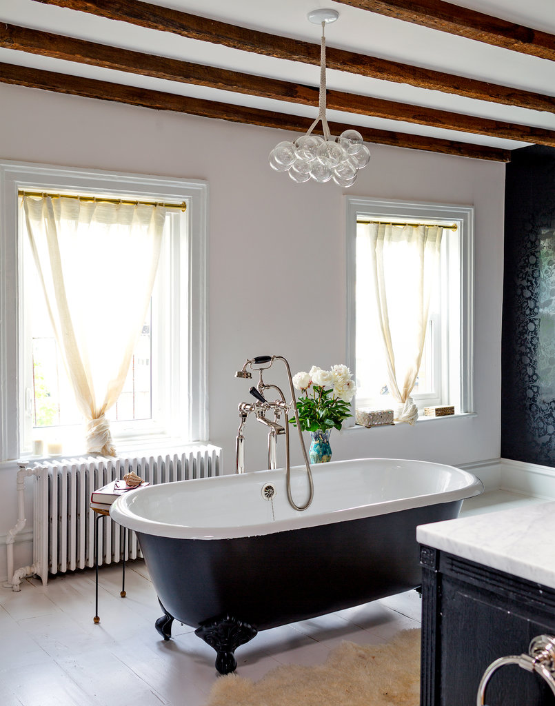 elorablue :      Brooklyn Town House Master Bath     What's up, ceiling beams and lighting fixture?