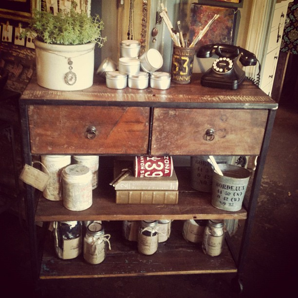 sisandmoon: Industrial farmhouse console at Sis & Moon's (Taken with instagram)