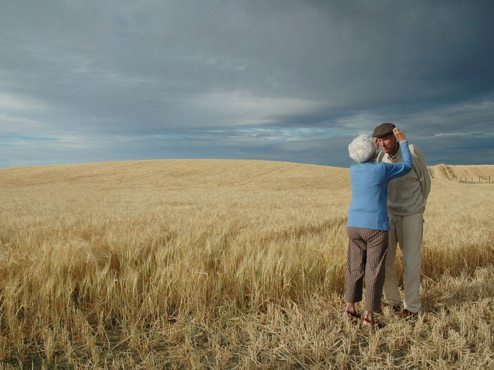 "letsmovetothecountry: Barley Field, New Zealand Gemma Collier ""My grandfather was born and raised on our New Zealand farm. He and my grandmother were married nearly 60 years. Preparing for a photo in the barley, my grandmother lovingly reached up to adjust his hat. This was his last harvest."""
