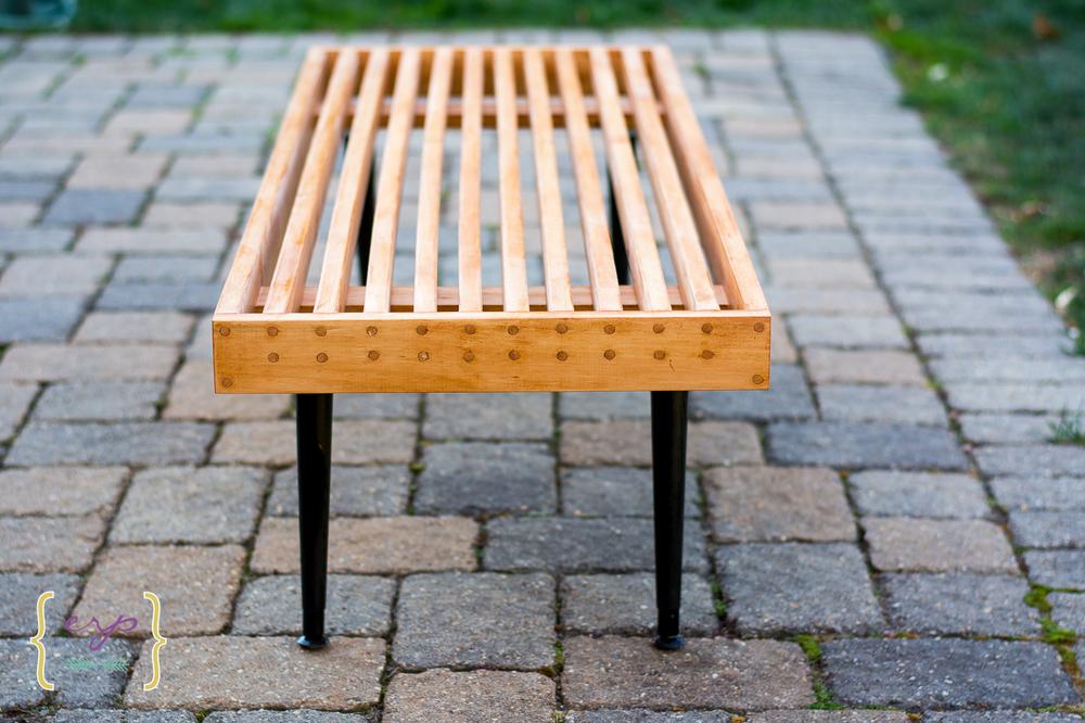 Midcentury Modern Slat Bench
