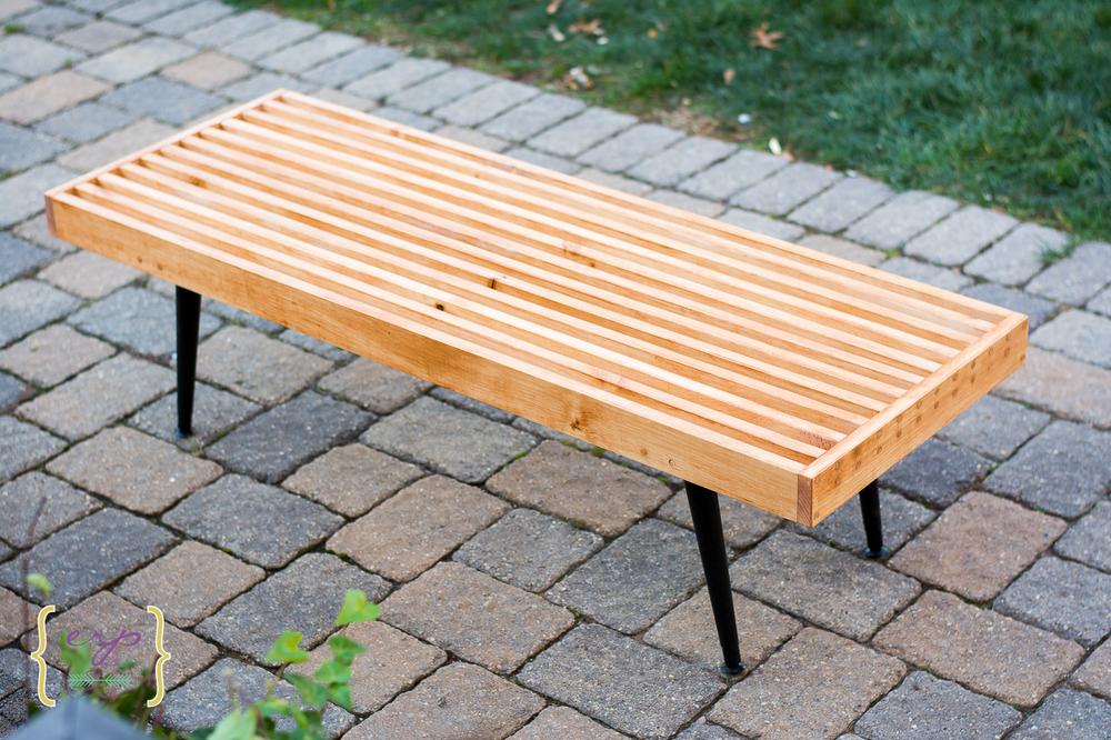 Midecentury Modern Slat Bench