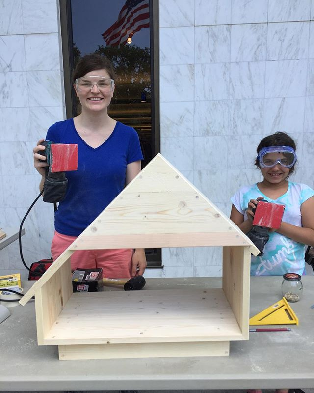 It was a hot afternoon but we managed to get most of the Little Free Library done! Next, we'll add the door and back.  This builder was a fast learner so we got a lot done!  #girlpower #powertools #woodworking #danburylibrary #makerinresidence #katiejacksonwoodworks #anyonecanbuild #womenwoodworkers