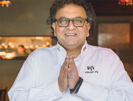 VIKRAM VIJ Celebrity Chef + Proprietor Vij's, Rangoli, Vij's Railway Express, Vij's At Home + Cookbook Author + International Food Expert (photo courtesy Vines Magazine) (DRAGON'S DEN, RECIPE TO RICHES, CHOPPED CANADA, TOP CHEF CANADA)