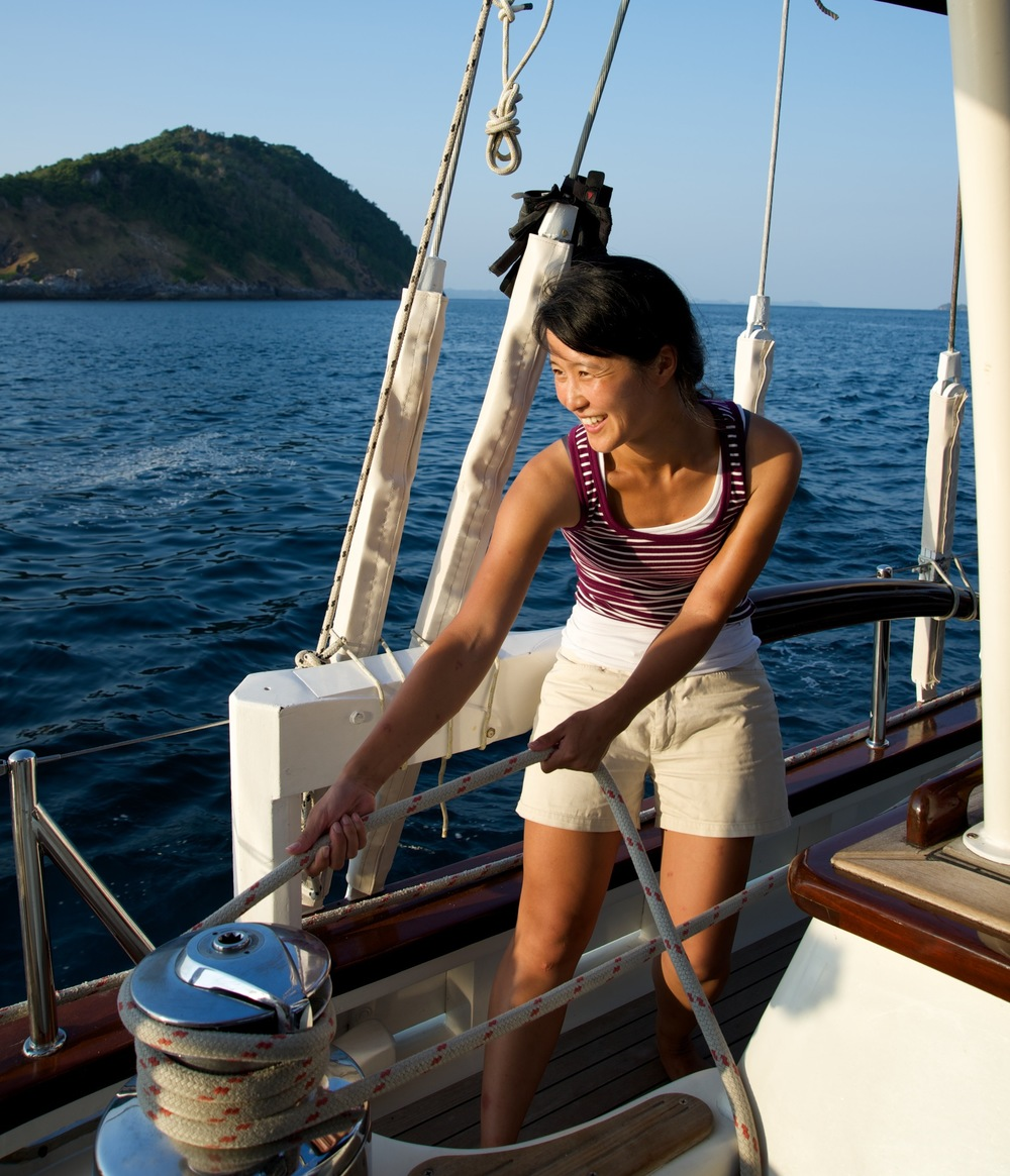 Learn Sailing aboard our yacht Meta IV in Myanmar's Mergui Archipelago. Book a cruising holiday and become a sailor.