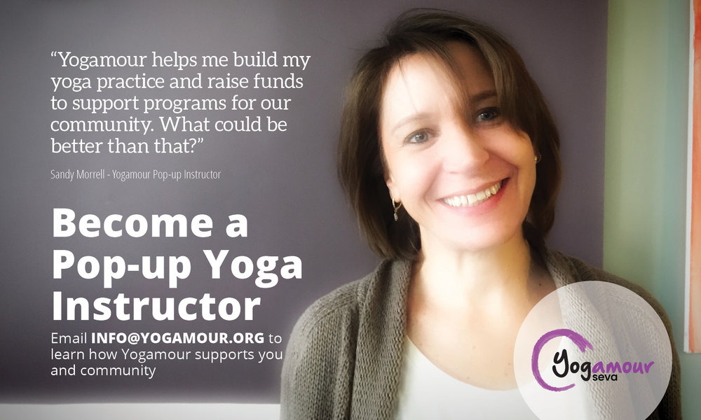 Sandy Morrell, is a Yogamour pop-up instructor teaching All Level Flow, 50 Plus, and Restorative Yoga classes at the Brown Community Center in Frederick, Md.