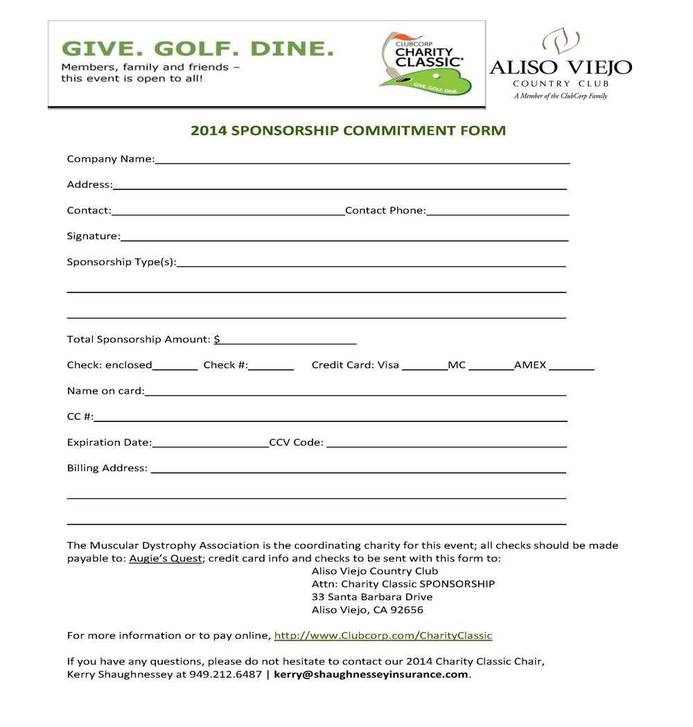 Aliso Viejo Country Clubu0027s Charity Classic · 2014 Charity Fact Sheet *  Sponsorship ...  Charity Sponsor Form