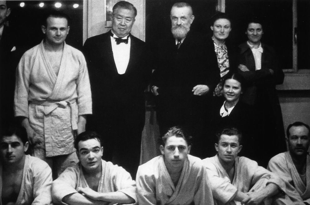 M. Feldenkrais with Judo & Labopartory Colleages & Frederic Joliot-Curie