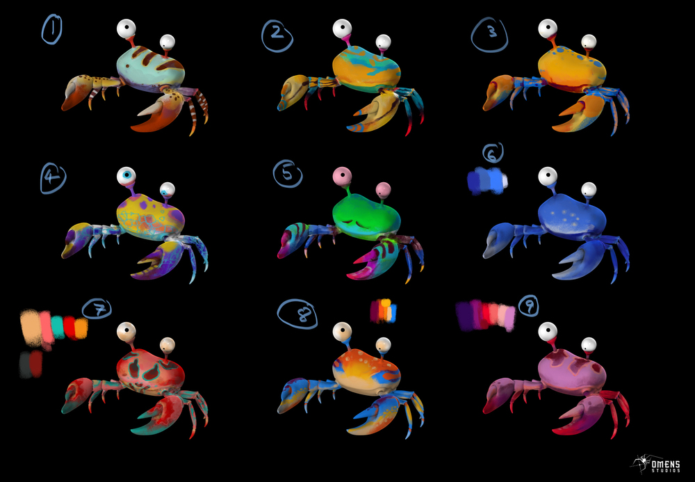 aside from boat, I did color variations of the characters. Crab is one of them. All characters designed by Sacha Goedegebure