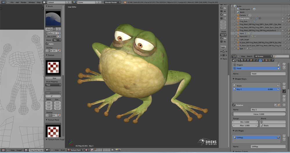 toad texturing in Blender