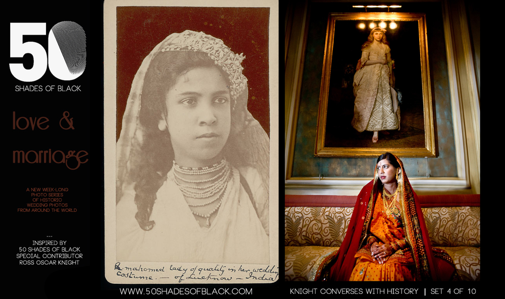 Portrait of Muslim Woman from Lucknow in Wedding Costume AND Knight Hindu Bride in Florida