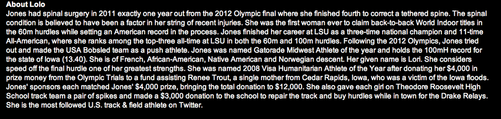 Source:  http://www.usatf.org/Athlete-Bios/Lolo-Jones.aspx