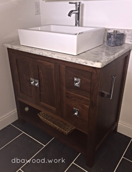 DBA Built This Solid Walnut Vanity To The Customersu0027 Original Drawing. It  Was Stained With A Walnut Stain. The Vanity Was Built With Inset Doors And  Drawers ...