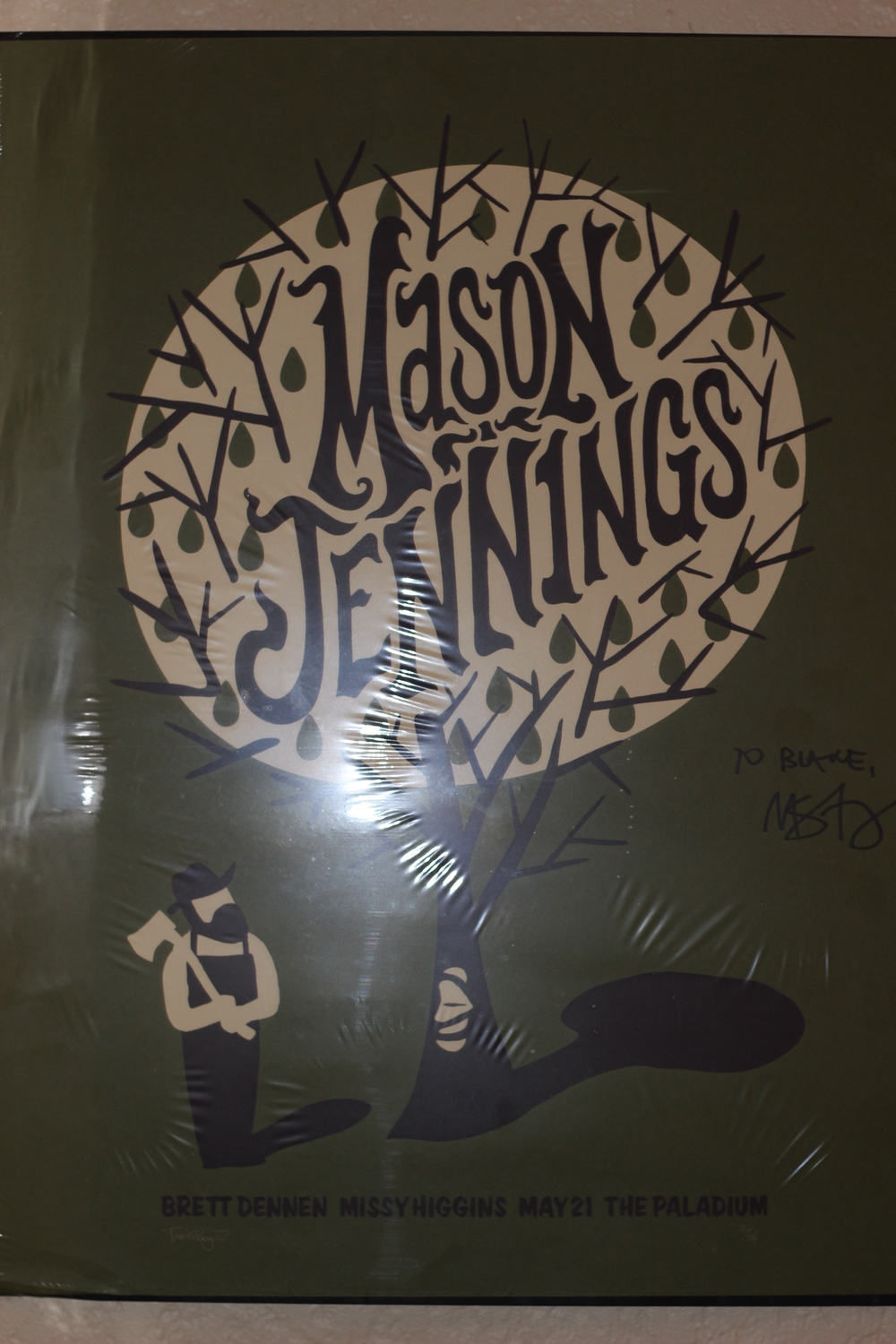 Memory: The time one of my best friends bought me a poster at Bonnaroo, then I met Mason Jennings at Bonnaroo and got it signed.