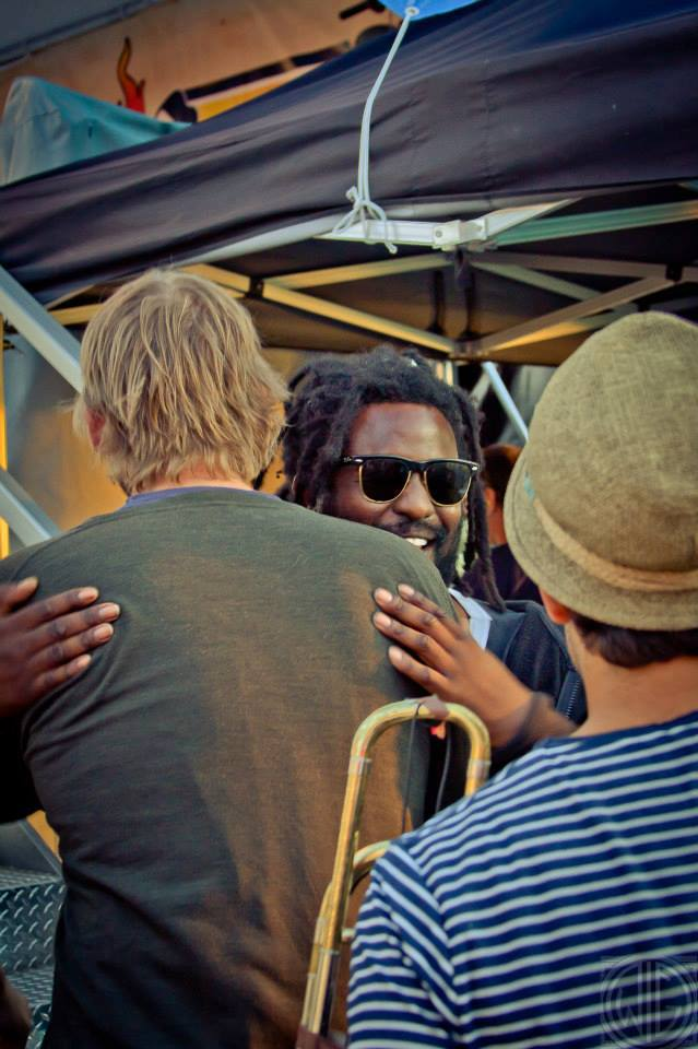 Giving a hug to Chuck from the Mad Caddies. I stole this picture from their website. Also, I think it might have been a  NEXUS  cover?