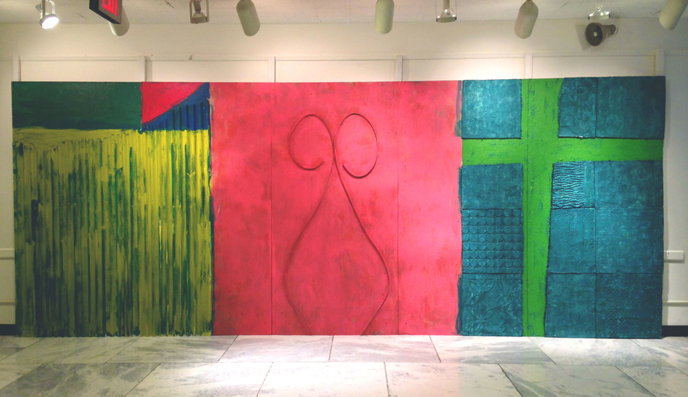 HARRAR WALL    8' X 20'  MIXED MEDIA 2014S  INSTALLED IN THE LOBBY AT THE POMERANTZ ART & DESIGN BUILDING AT FIT, NYC