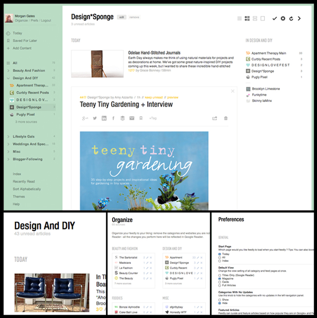 What I see when I open Feedly to catch up on blogs I love. Customize-able views, easy organization, and lots of preferences & settings.