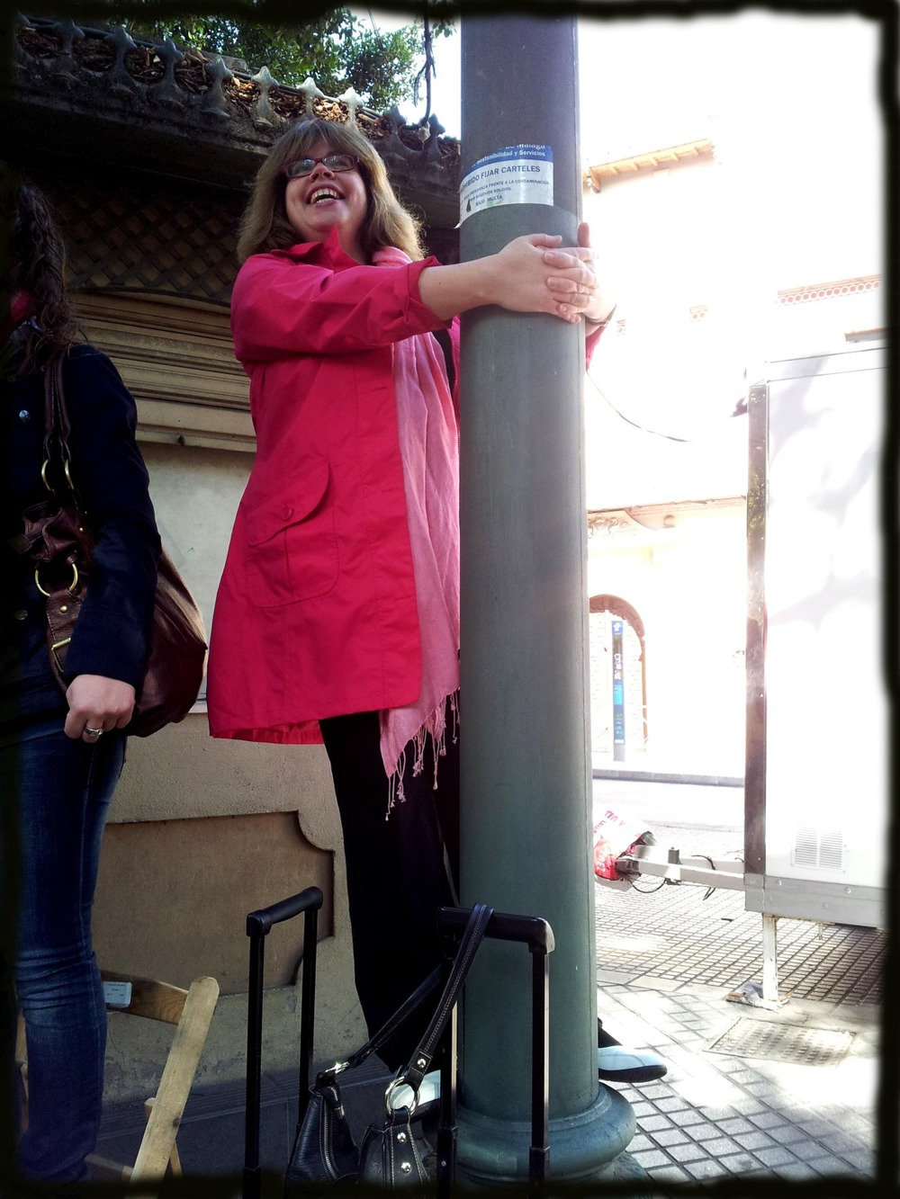 Andrea on the lamppost.jpg