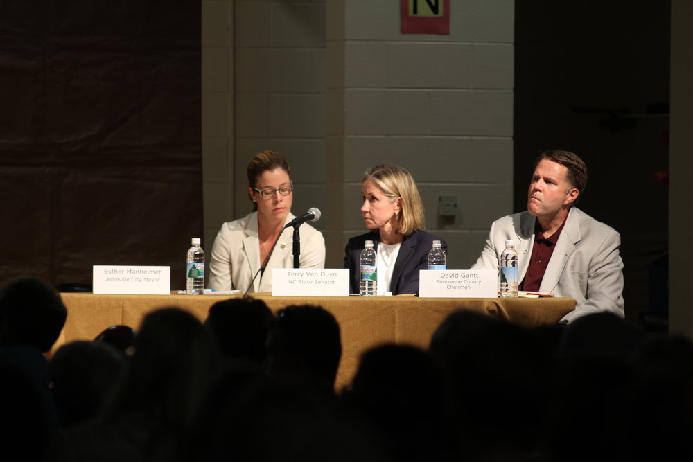 Asheville City Mayor Esther Manheimer, Senator Terry Van Duyn, and Buncombe County Chairman David Gantt answered community questions and were given 5 minutes each to speak to the audience.