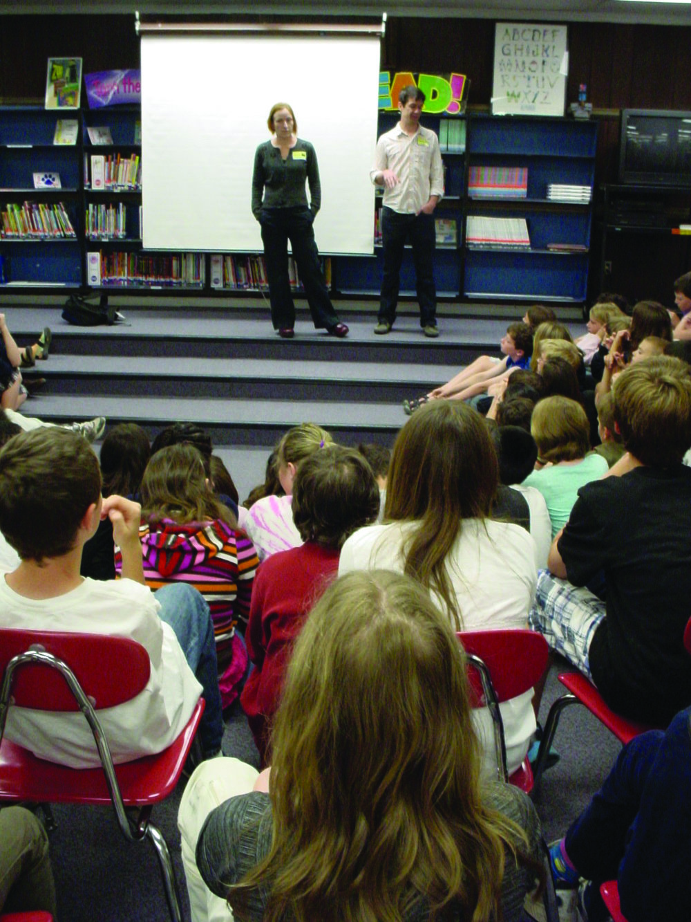 Q and A discussion with filmmakers post education guide module screening with a 5th-grade classroom in Arden, NC 2014.