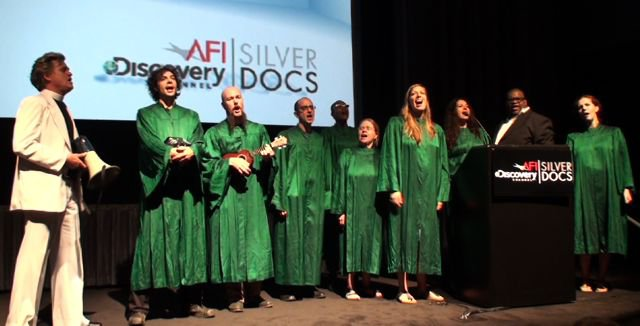 On Coal River's  world premiere at AFI Silverdocs Film Festival. Reverend Billy and Church of Earthalujah performed songs about mountaintop removal while volunteers from Rainforest Action Network collected signatures for the Mountain Pledge.