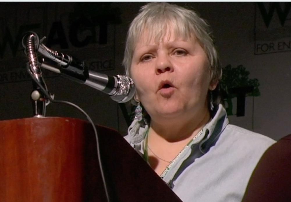 "Still from ""ON COAL RIVER."" Judy Bonds speaking at a We ACT Conference, New York, NY 2009.  ""Coal is killing us all and it's the number one cause of climate change."""