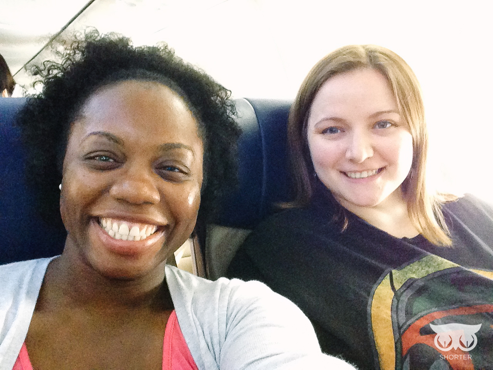 Me and my coworker Annie on our first flight.