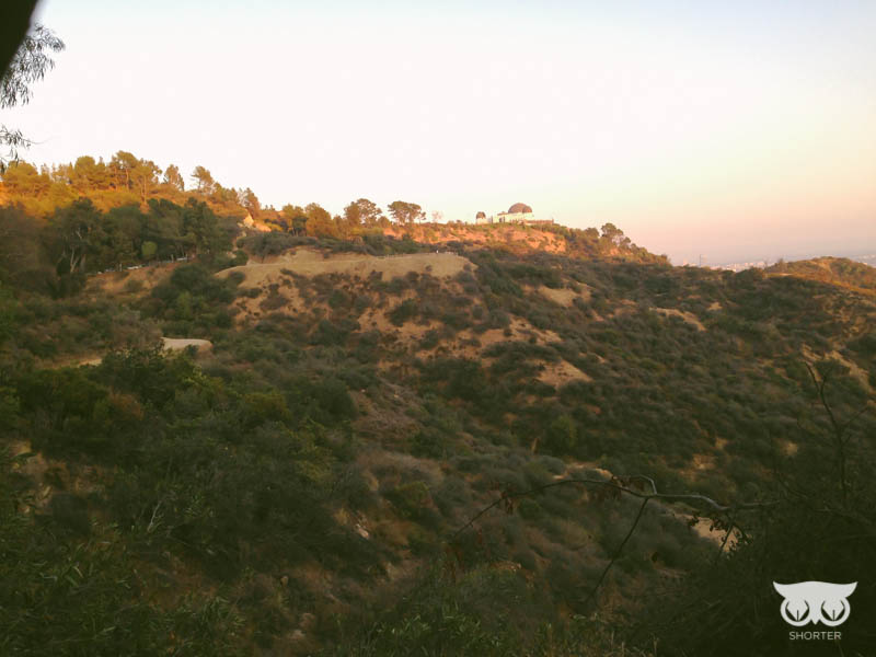 When we finally got to the Griffith Observatory the parking sucked and we had to park at the very bottom of the hill and march our way upwards. You can see it vaguely at the top of the hill. I enjoyed the view though.