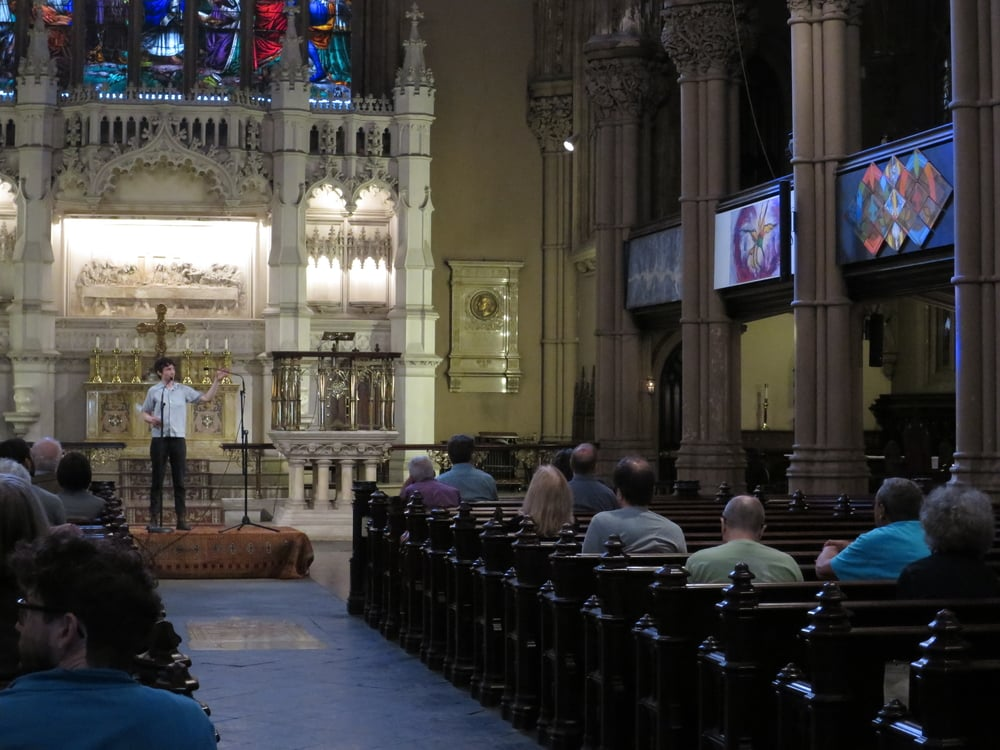 Installation view/artist talk,  Back To Life  St. Ann's Church, Brooklyn, NY 2015