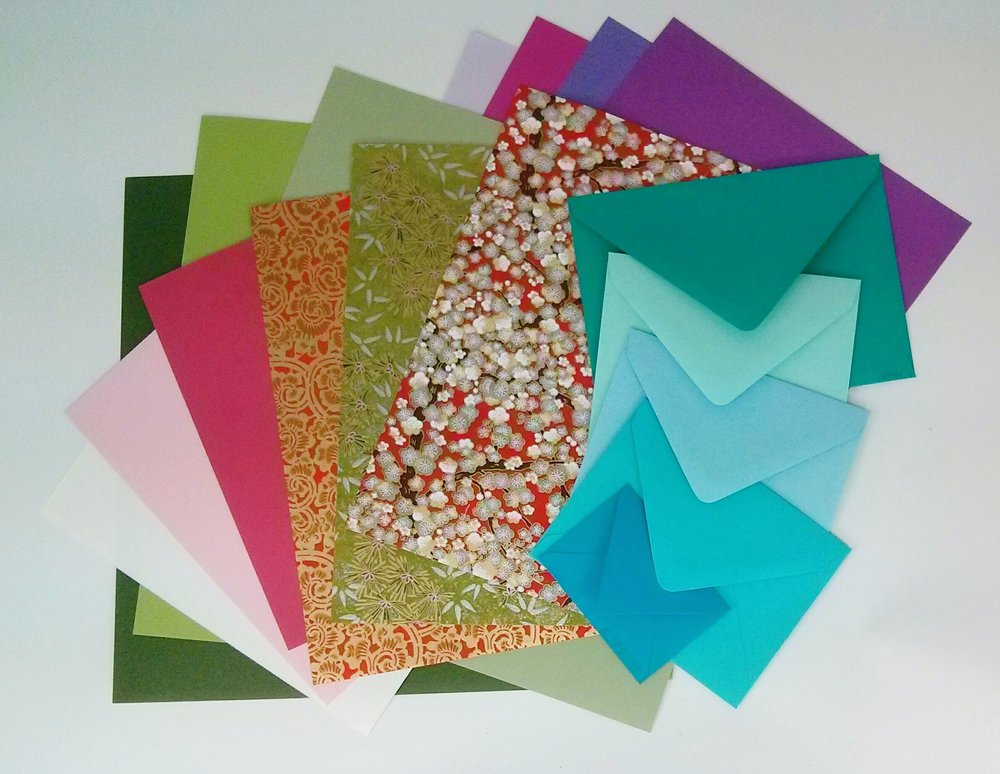 "Paper-by-the-piece: sheets of text and cover weight in 8.5"" x 11"", envelopes in many sizes and decorative papers such as chiyogami (now also available in 12 x 12 scrapbooking-size sheets!)"