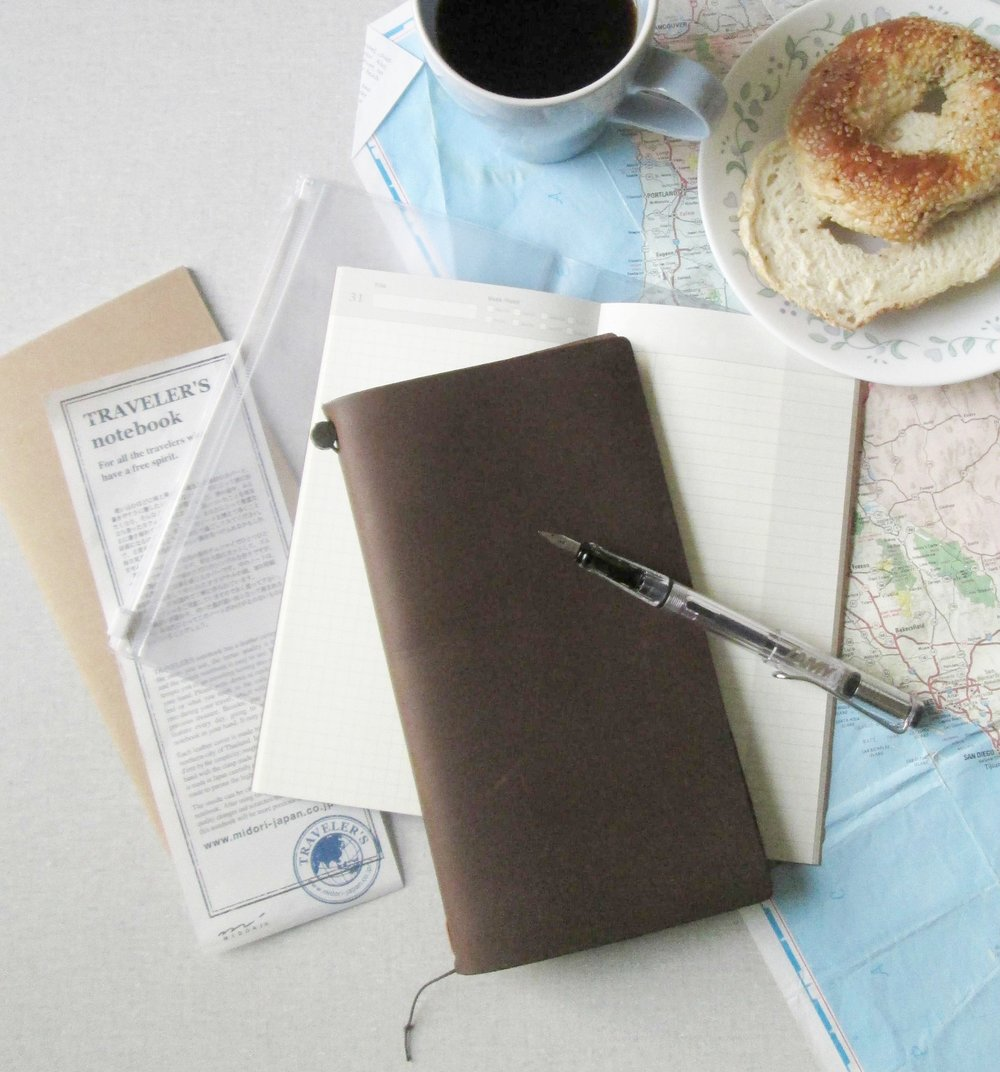 Midori's Traveler's Notebook in Original, Passport and the limited edition Mini size. New colour for 2016: Camel.