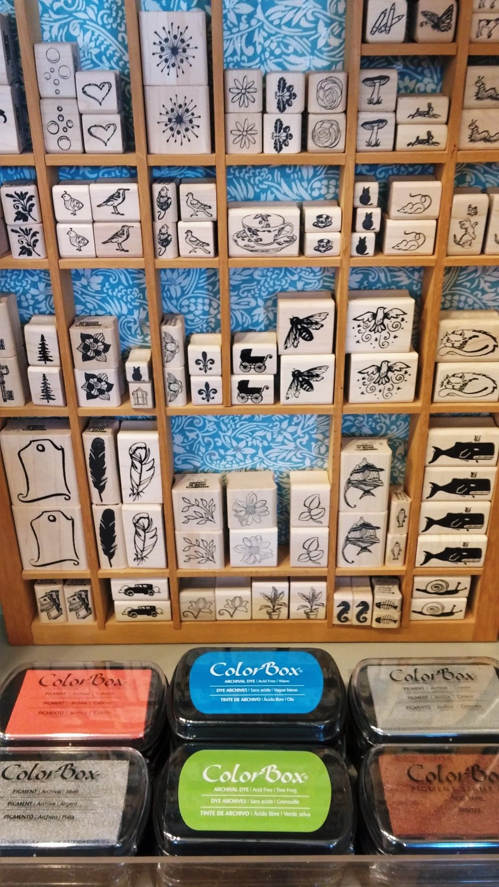 Rubber stamps and ink pads for your card-making or other creative projects.